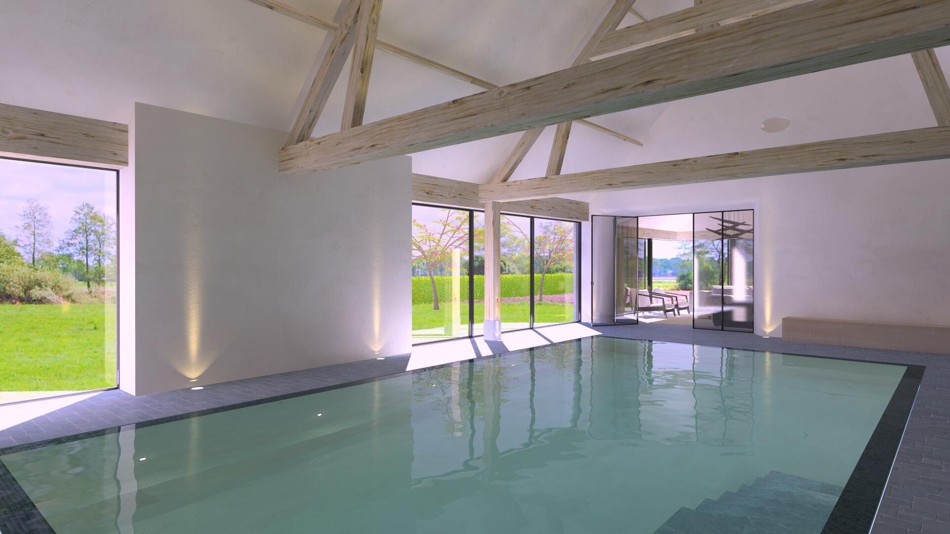 Inrichting binnenzwembad wellness ap art architecten
